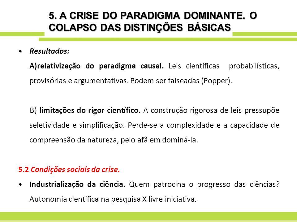 5. A CRISE DO PARADIGMA DOMINANTE. O COLAPSO DAS DISTINÇÕES BÁSICAS