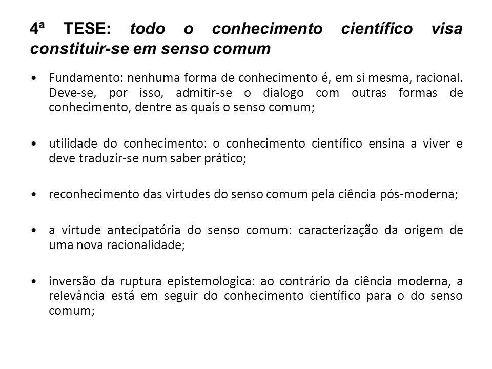 4ª TESE: todo o conhecimento científico visa constituir-se em senso comum