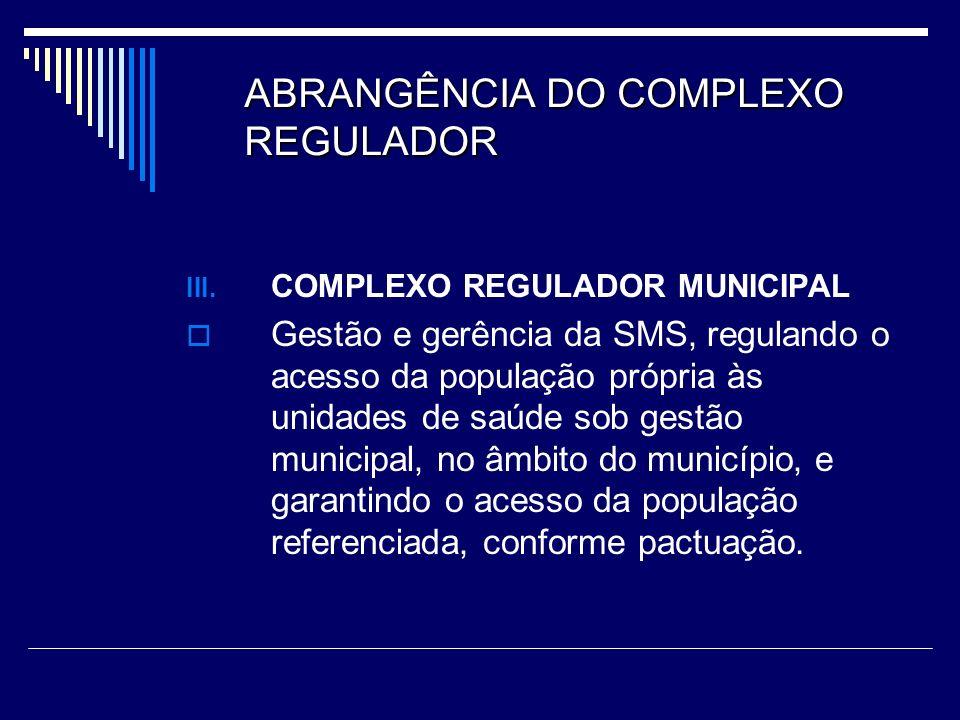 ABRANGÊNCIA DO COMPLEXO REGULADOR