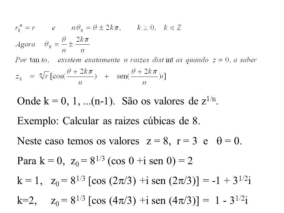 Onde k = 0, 1, ...(n-1). São os valores de z1/n.