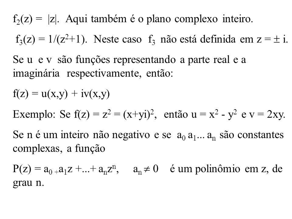 f2(z) = |z|. Aqui também é o plano complexo inteiro.