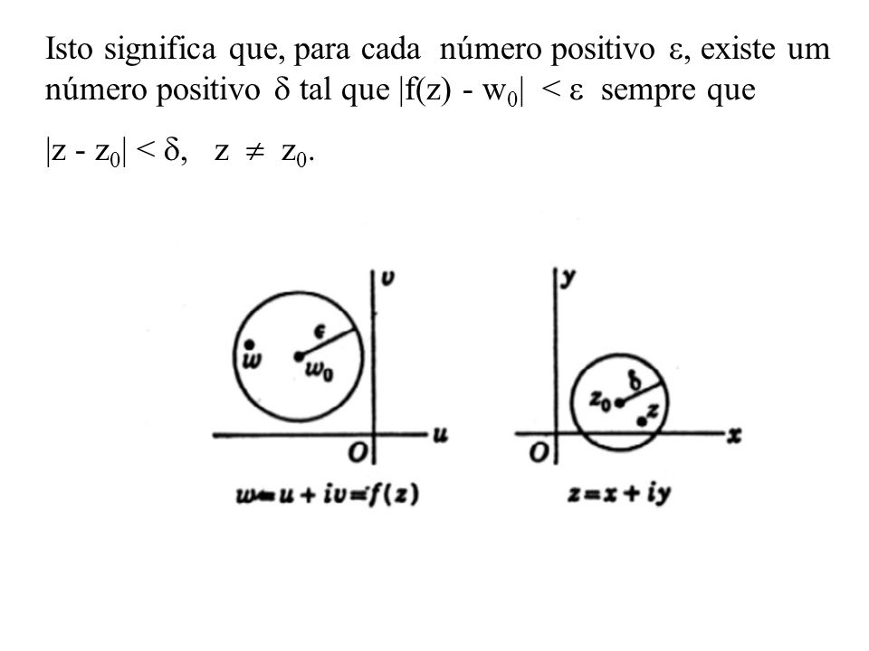 Isto significa que, para cada número positivo , existe um número positivo  tal que |f(z) - w0| <  sempre que