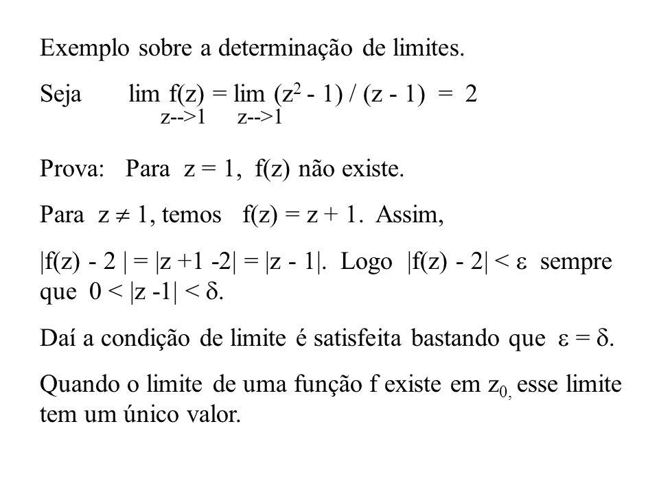 Exemplo sobre a determinação de limites.