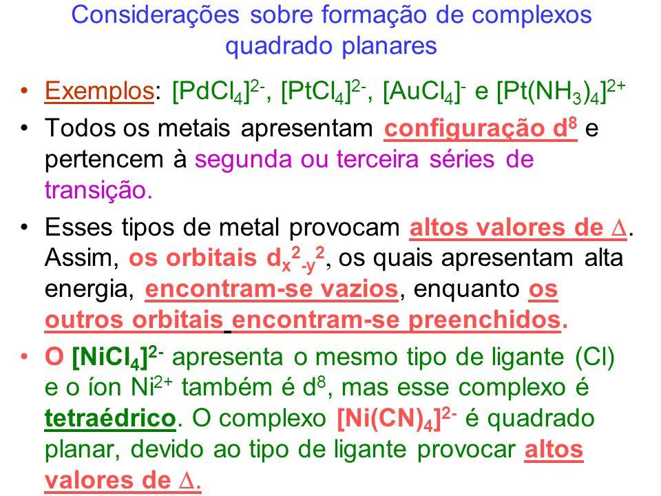 Considerações sobre formação de complexos quadrado planares