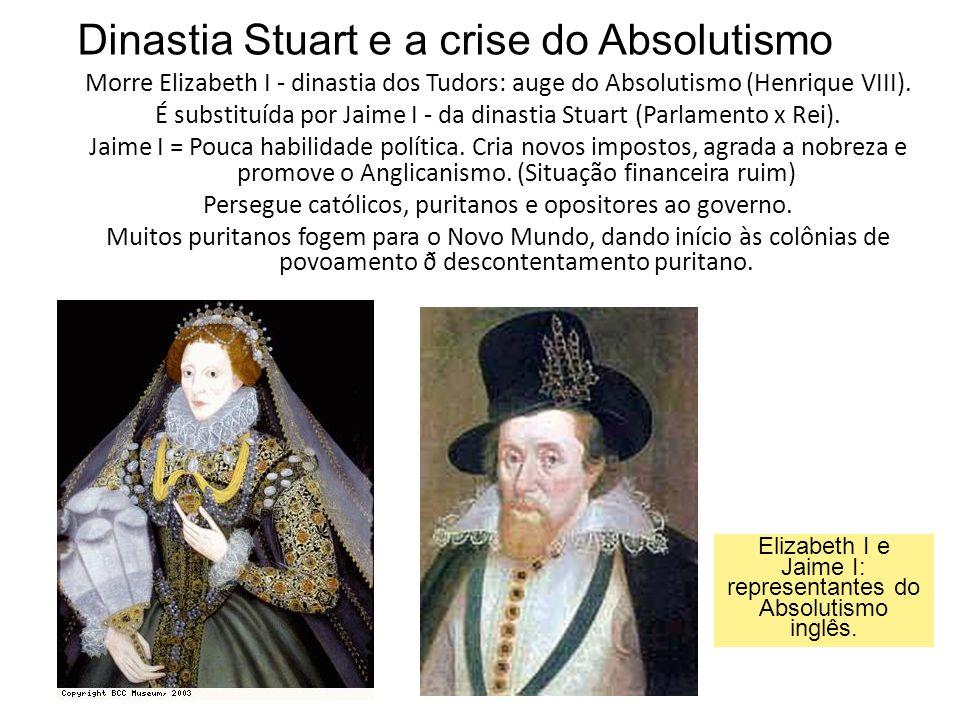 Elizabeth I e Jaime I: representantes do Absolutismo inglês.