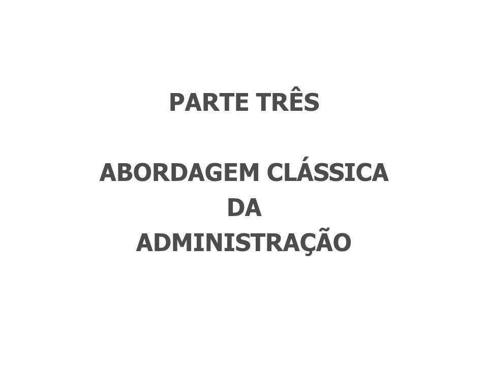 PARTE TRÊS ABORDAGEM CLÁSSICA DA ADMINISTRAÇÃO