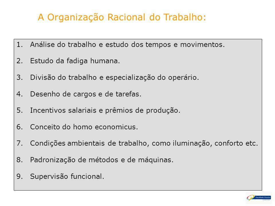A Organização Racional do Trabalho: