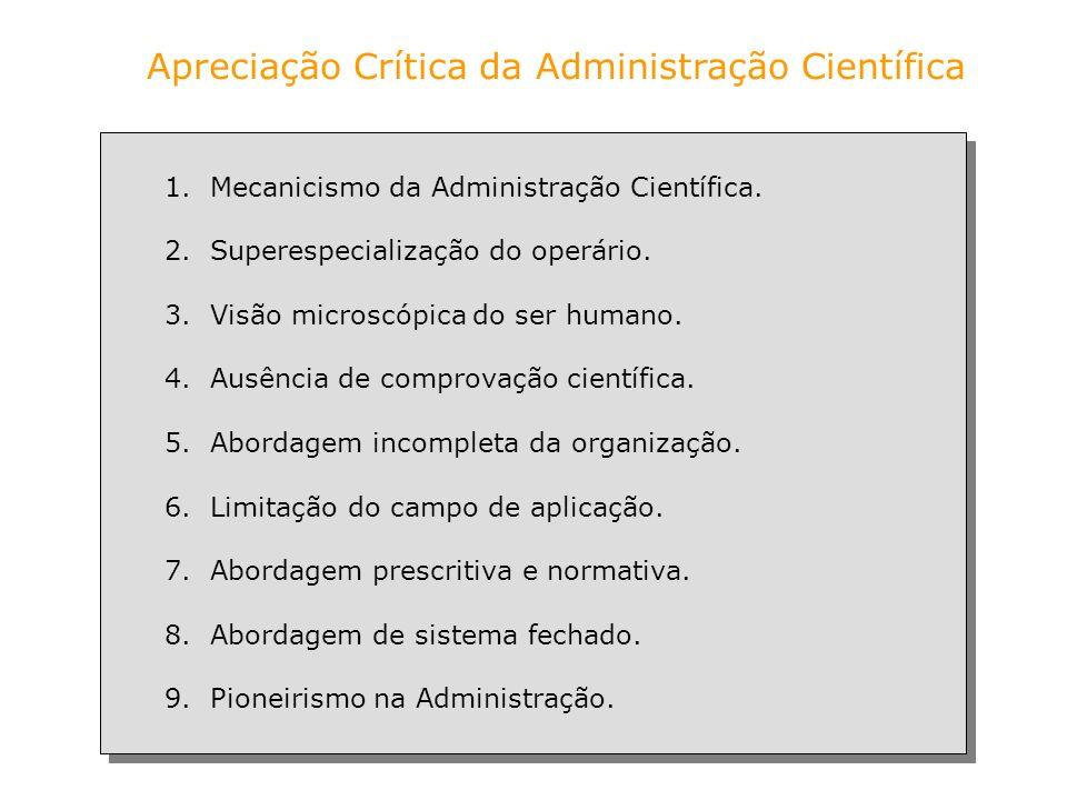 Apreciação Crítica da Administração Científica