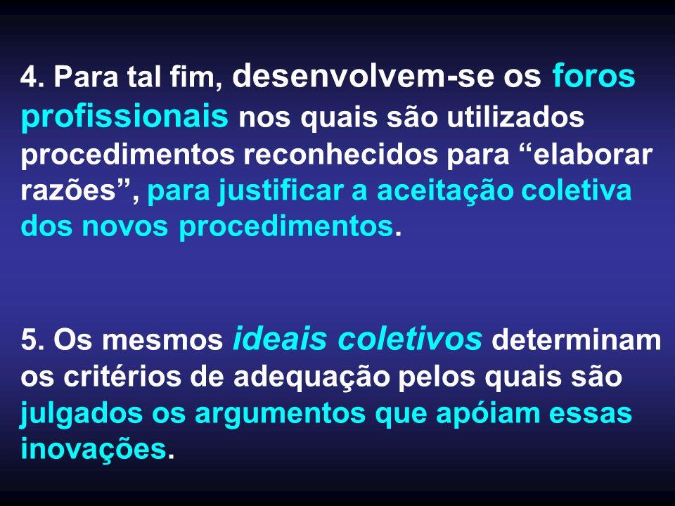 4. Para tal fim, desenvolvem-se os foros profissionais nos quais são utilizados procedimentos reconhecidos para elaborar razões , para justificar a aceitação coletiva dos novos procedimentos.