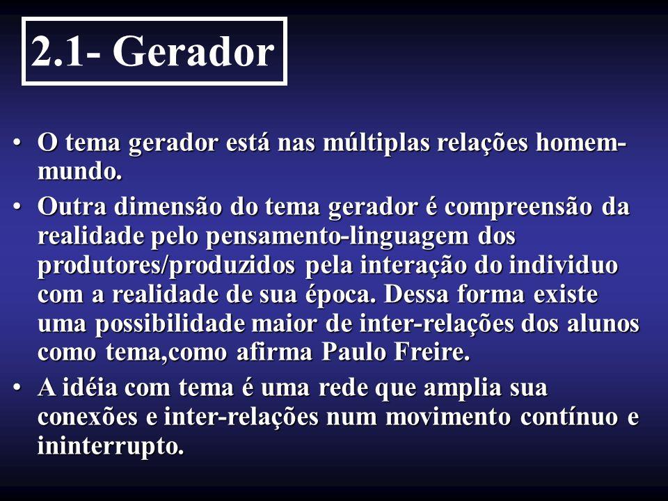 2.1- Gerador O tema gerador está nas múltiplas relações homem-mundo.