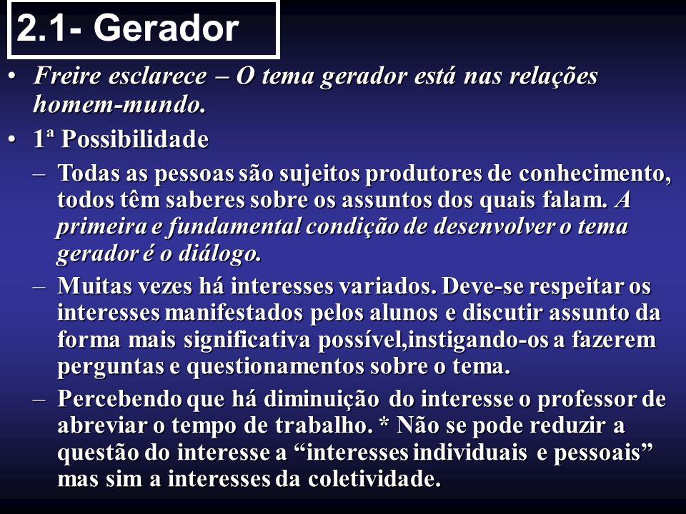 2.1- Gerador Freire esclarece – O tema gerador está nas relações homem-mundo. 1ª Possibilidade.