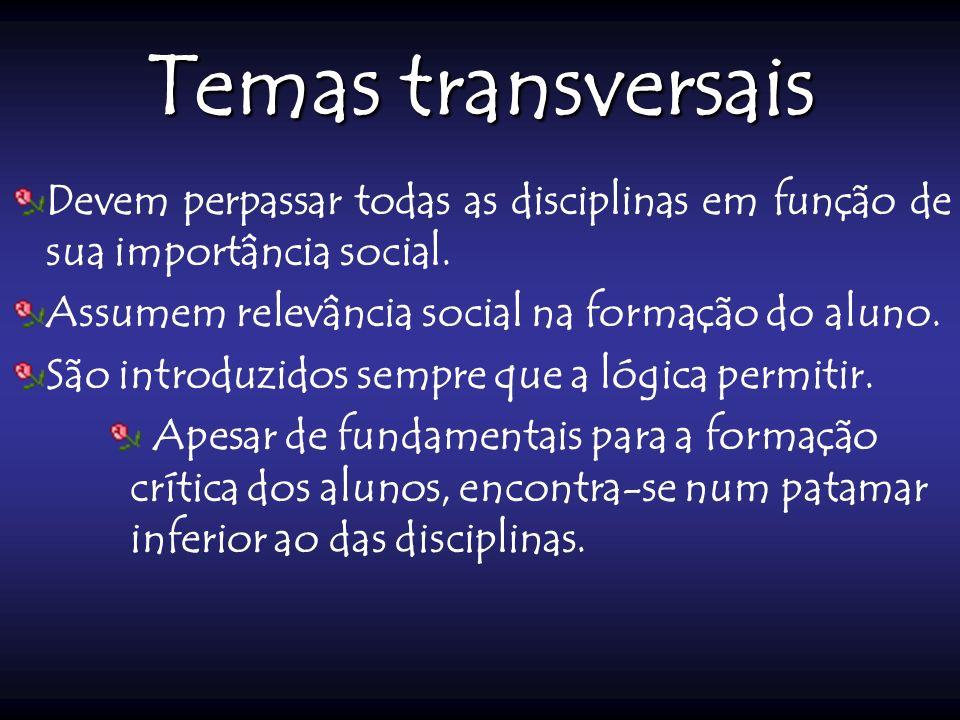 Temas transversais Devem perpassar todas as disciplinas em função de sua importância social. Assumem relevância social na formação do aluno.