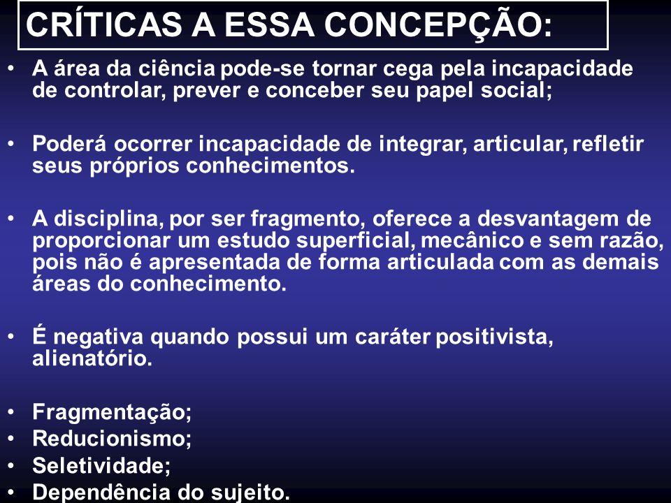 CRÍTICAS A ESSA CONCEPÇÃO: