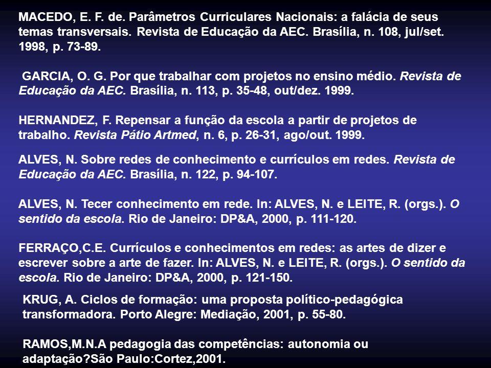 MACEDO, E. F. de. Parâmetros Curriculares Nacionais: a falácia de seus temas transversais. Revista de Educação da AEC. Brasília, n. 108, jul/set. 1998, p. 73-89.