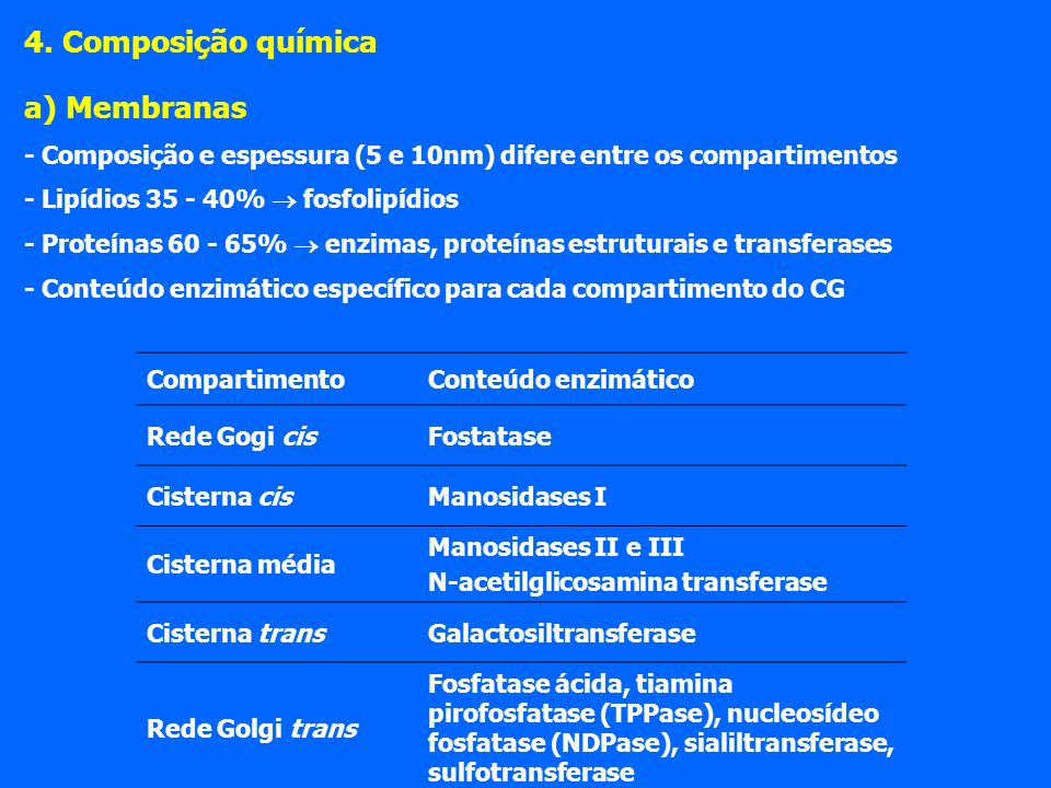 4. Composição química a) Membranas