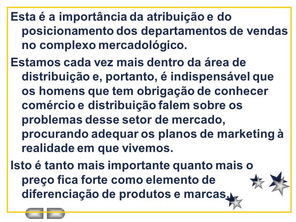 Esta é a importância da atribuição e do posicionamento dos departamentos de vendas no complexo mercadológico.