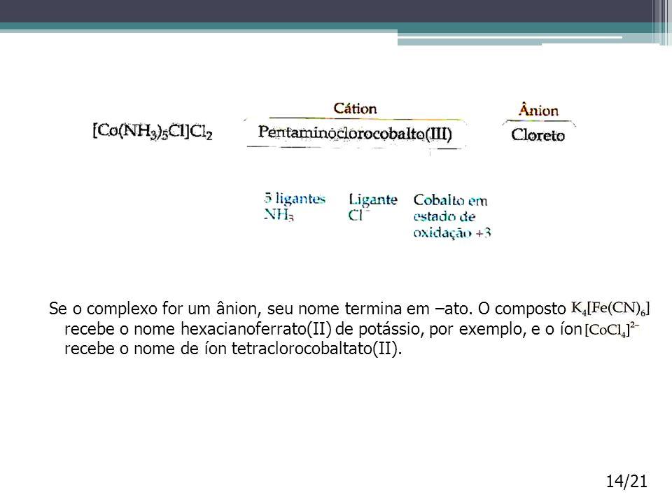 Se o complexo for um ânion, seu nome termina em –ato. O composto