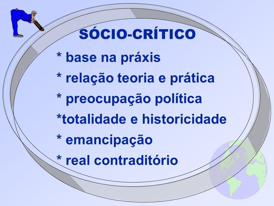 SÓCIO-CRÍTICO * base na práxis. * relação teoria e prática. * preocupação política. *totalidade e historicidade.