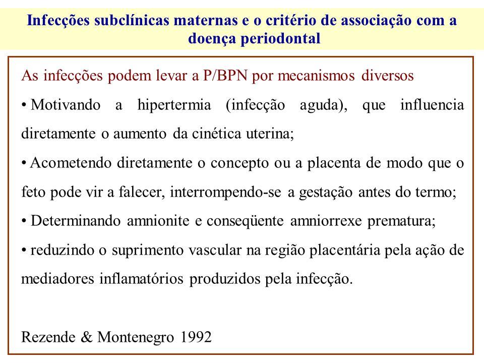 Infecções subclínicas maternas e o critério de associação com a doença periodontal