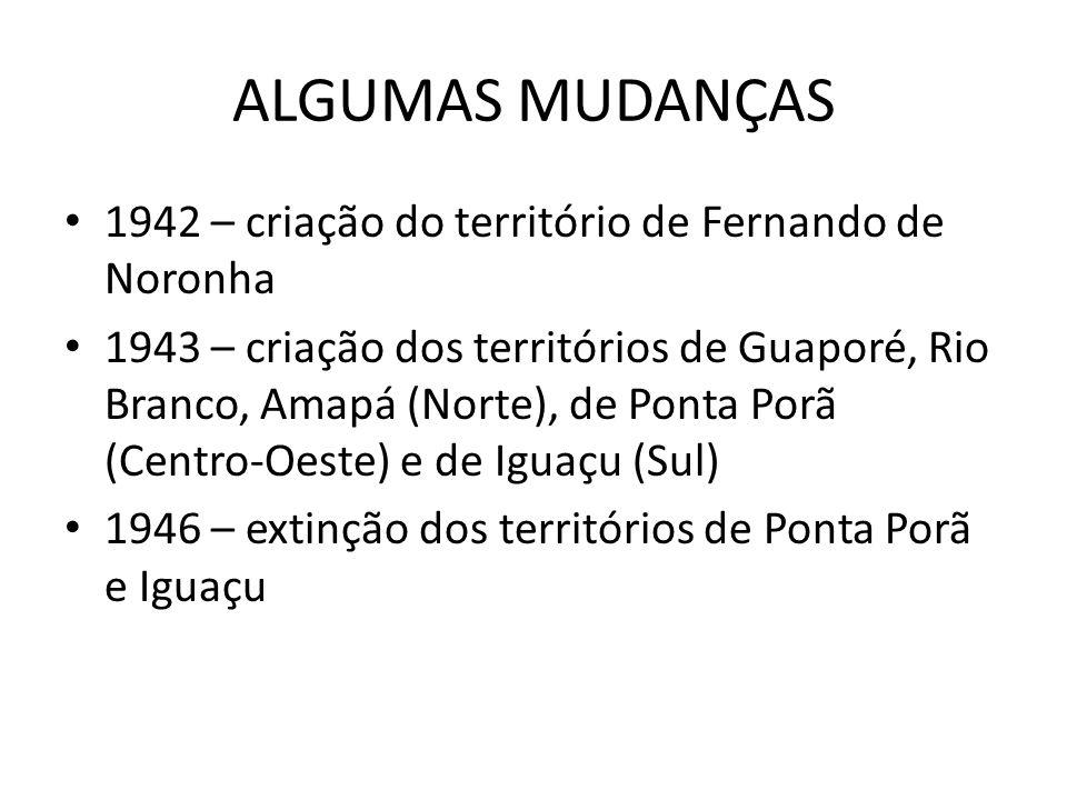ALGUMAS MUDANÇAS 1942 – criação do território de Fernando de Noronha