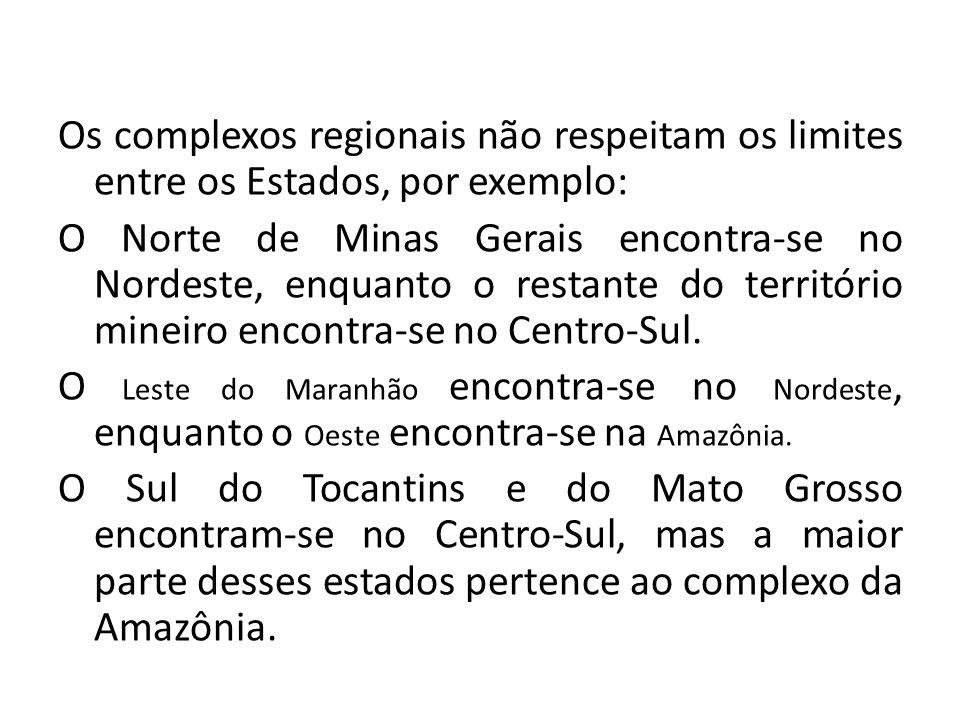 Os complexos regionais não respeitam os limites entre os Estados, por exemplo: