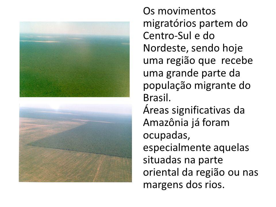 Os movimentos migratórios partem do Centro-Sul e do Nordeste, sendo hoje uma região que recebe uma grande parte da população migrante do Brasil.