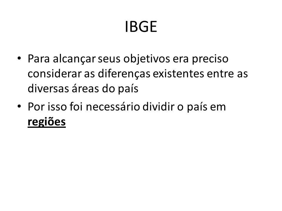 IBGE Para alcançar seus objetivos era preciso considerar as diferenças existentes entre as diversas áreas do país.