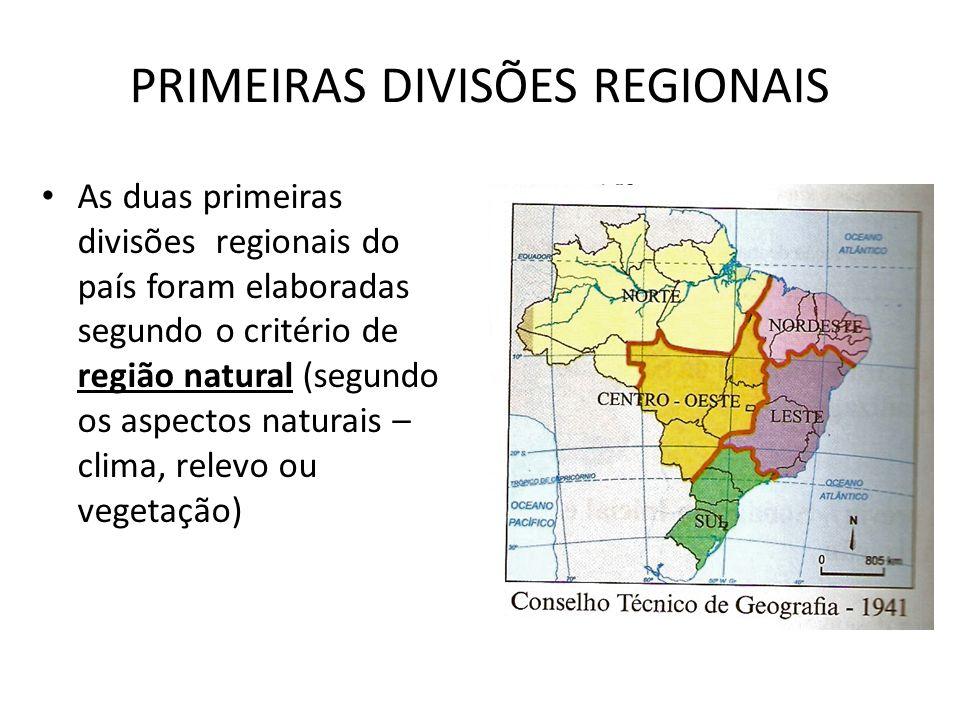 PRIMEIRAS DIVISÕES REGIONAIS