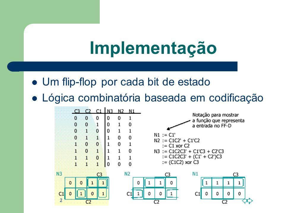 Implementação Um flip-flop por cada bit de estado