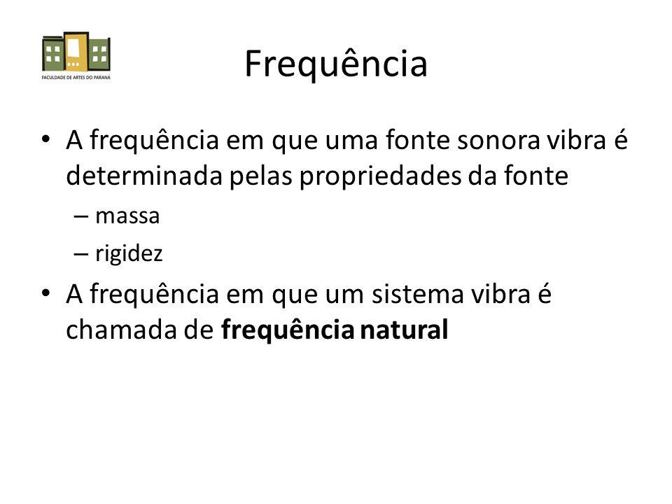 Frequência A frequência em que uma fonte sonora vibra é determinada pelas propriedades da fonte. massa.
