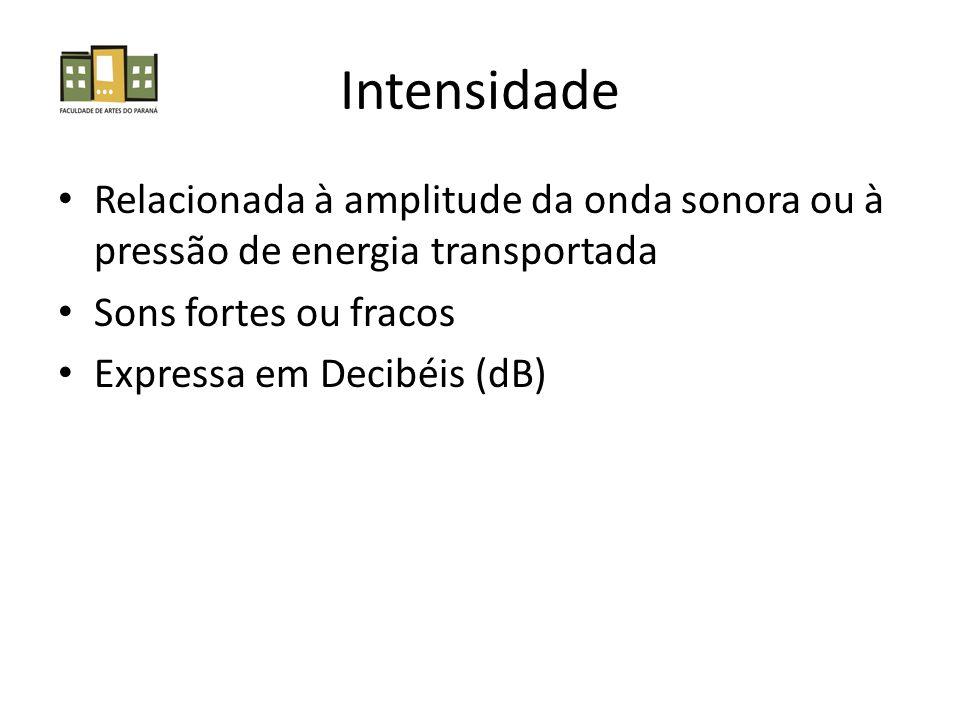 Intensidade Relacionada à amplitude da onda sonora ou à pressão de energia transportada. Sons fortes ou fracos.