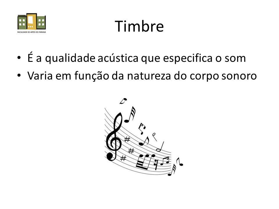 Timbre É a qualidade acústica que especifica o som