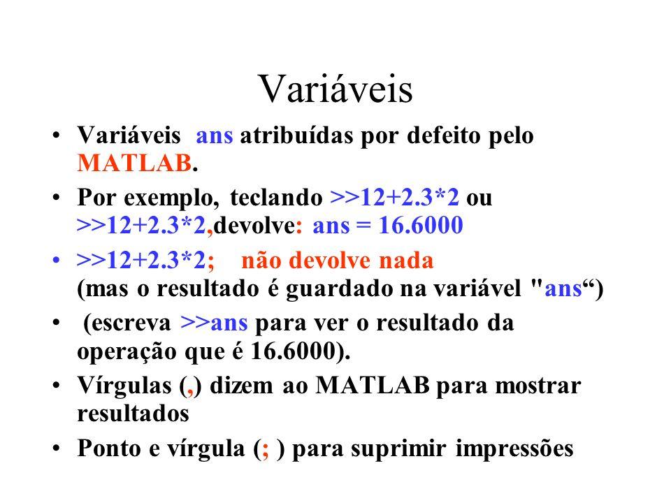 Variáveis Variáveis ans atribuídas por defeito pelo MATLAB.