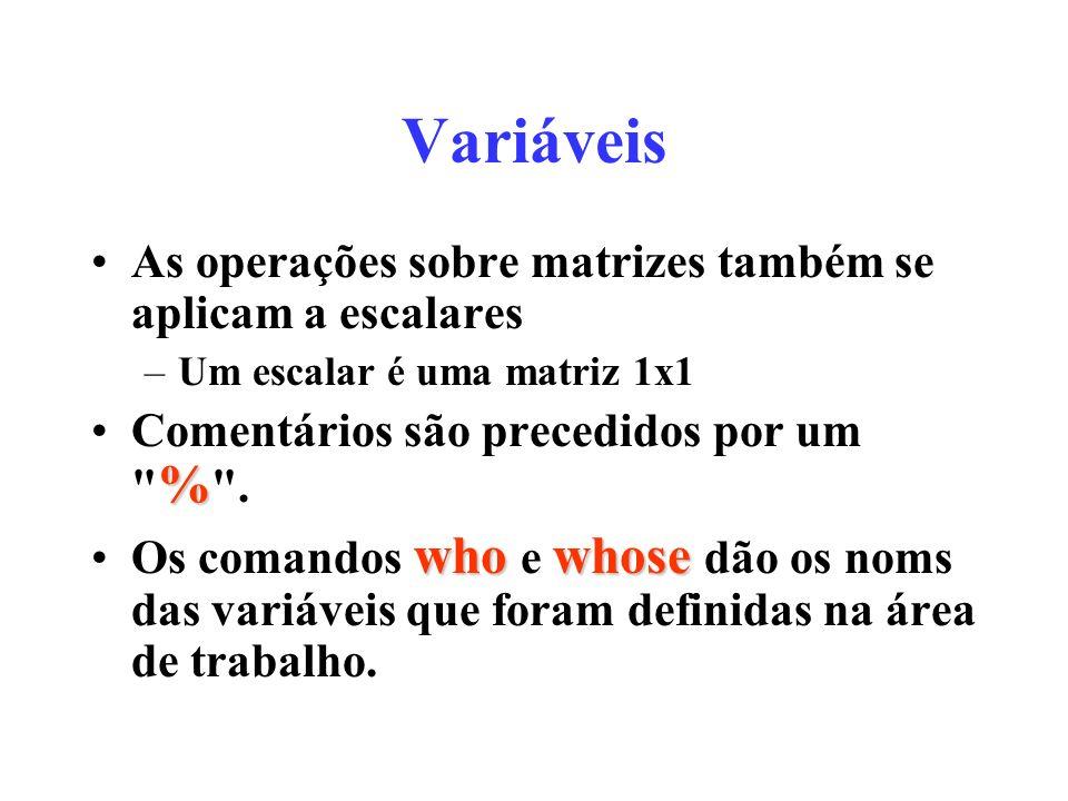 Variáveis As operações sobre matrizes também se aplicam a escalares