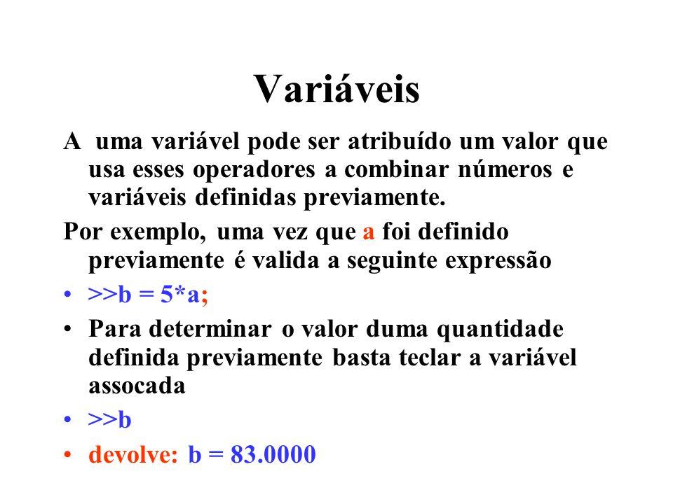 Variáveis A uma variável pode ser atribuído um valor que usa esses operadores a combinar números e variáveis definidas previamente.