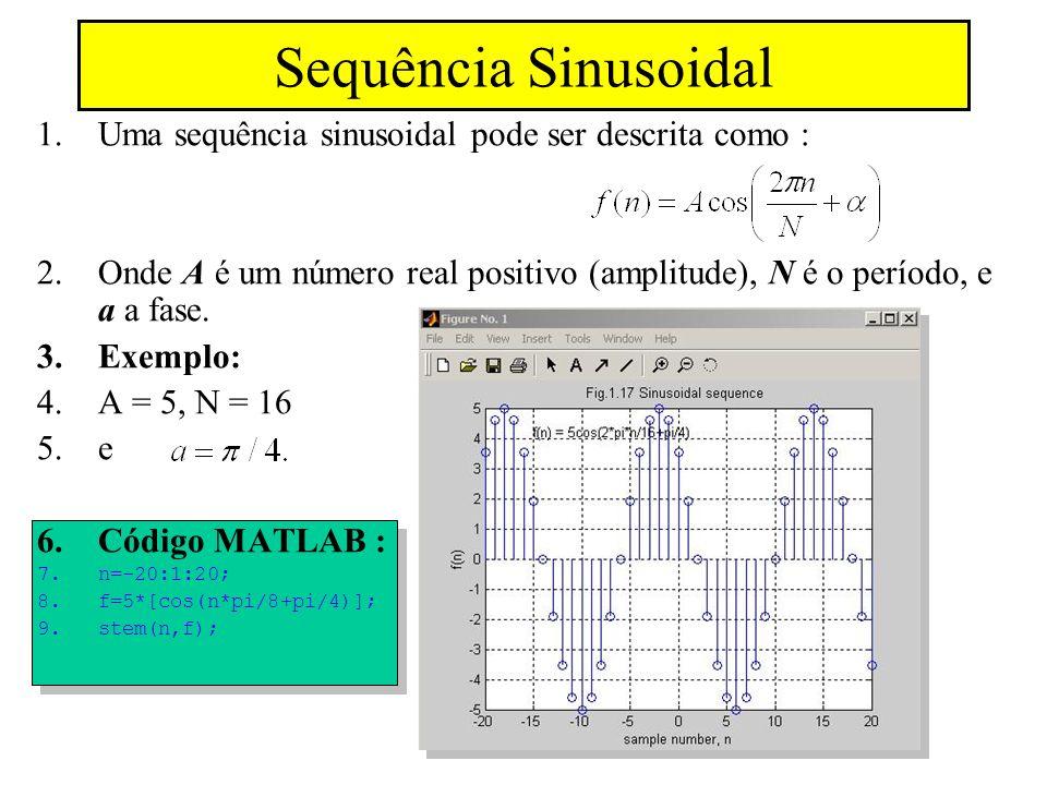 Sequência Sinusoidal Uma sequência sinusoidal pode ser descrita como :