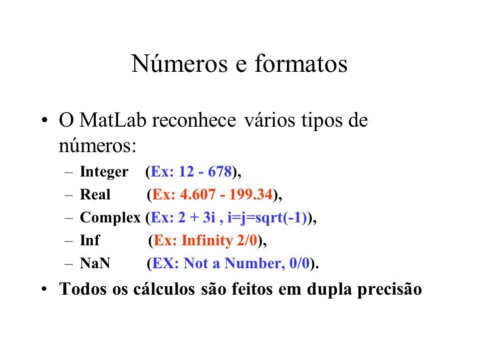 Números e formatos O MatLab reconhece vários tipos de números: