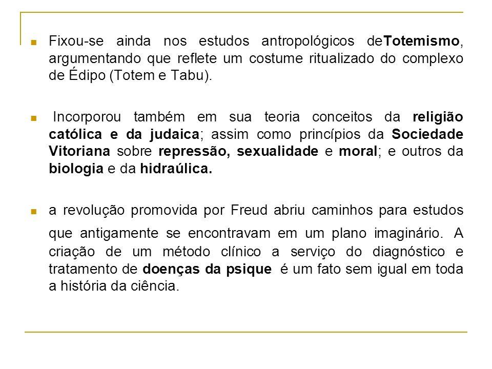 Fixou-se ainda nos estudos antropológicos deTotemismo, argumentando que reflete um costume ritualizado do complexo de Édipo (Totem e Tabu).