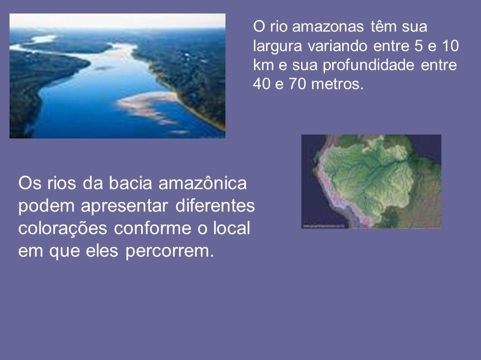 O rio amazonas têm sua largura variando entre 5 e 10 km e sua profundidade entre 40 e 70 metros.