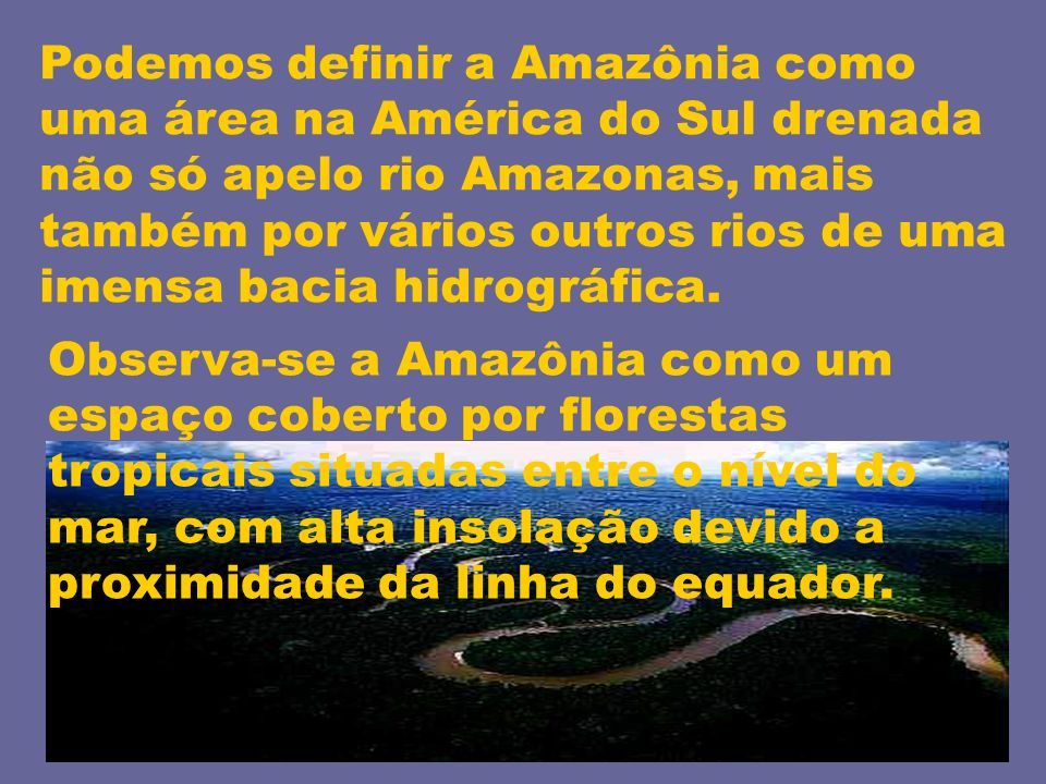 Podemos definir a Amazônia como uma área na América do Sul drenada não só apelo rio Amazonas, mais também por vários outros rios de uma imensa bacia hidrográfica.