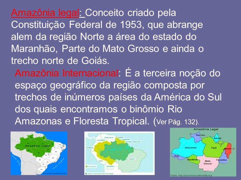 Amazônia legal: Conceito criado pela Constituição Federal de 1953, que abrange alem da região Norte a área do estado do Maranhão, Parte do Mato Grosso e ainda o trecho norte de Goiás.