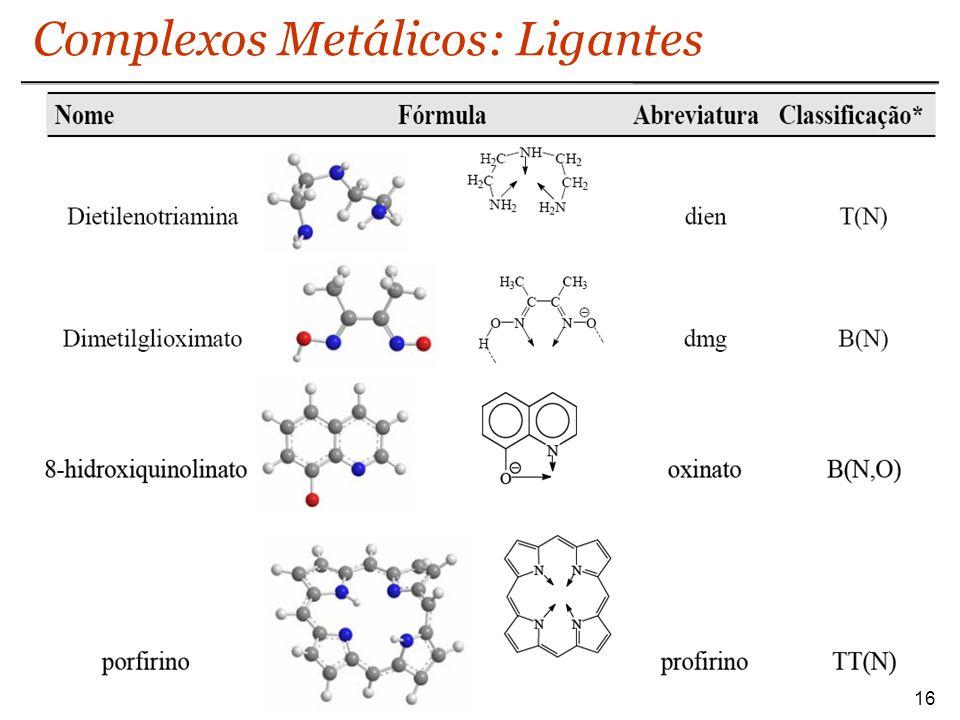 Complexos Metálicos: Ligantes