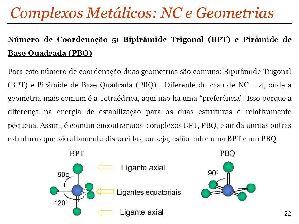Complexos Metálicos: NC e Geometrias