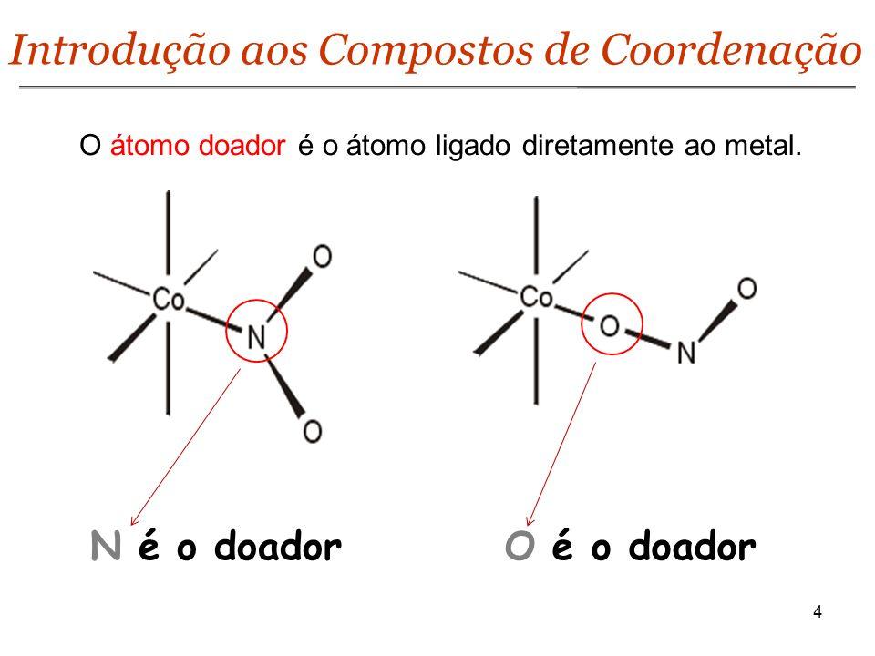 O átomo doador é o átomo ligado diretamente ao metal.