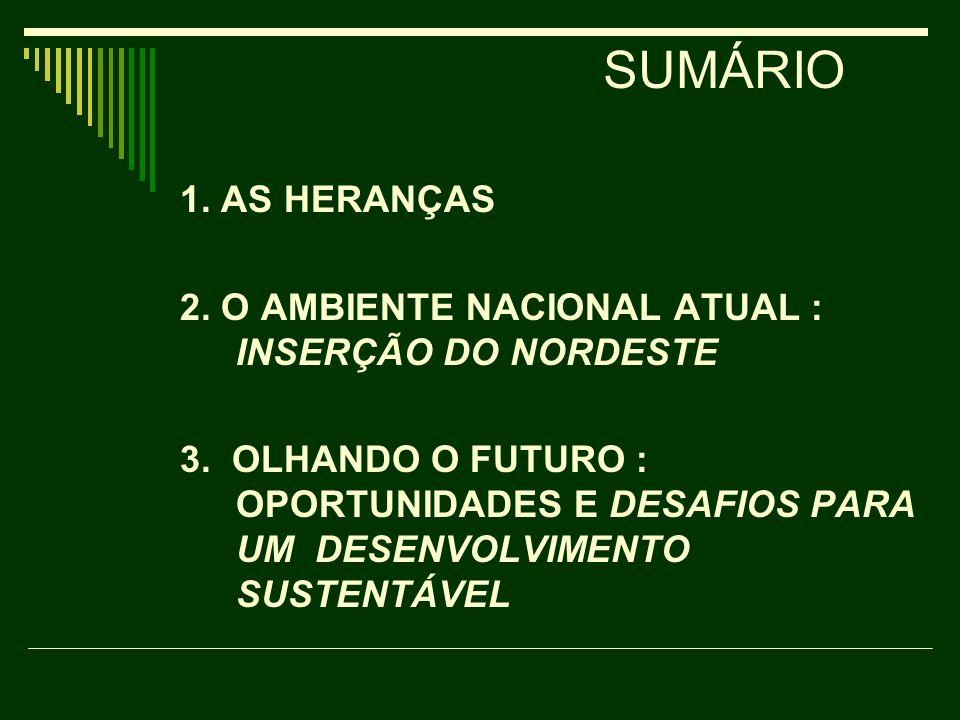 SUMÁRIO 1. AS HERANÇAS. 2. O AMBIENTE NACIONAL ATUAL : INSERÇÃO DO NORDESTE.