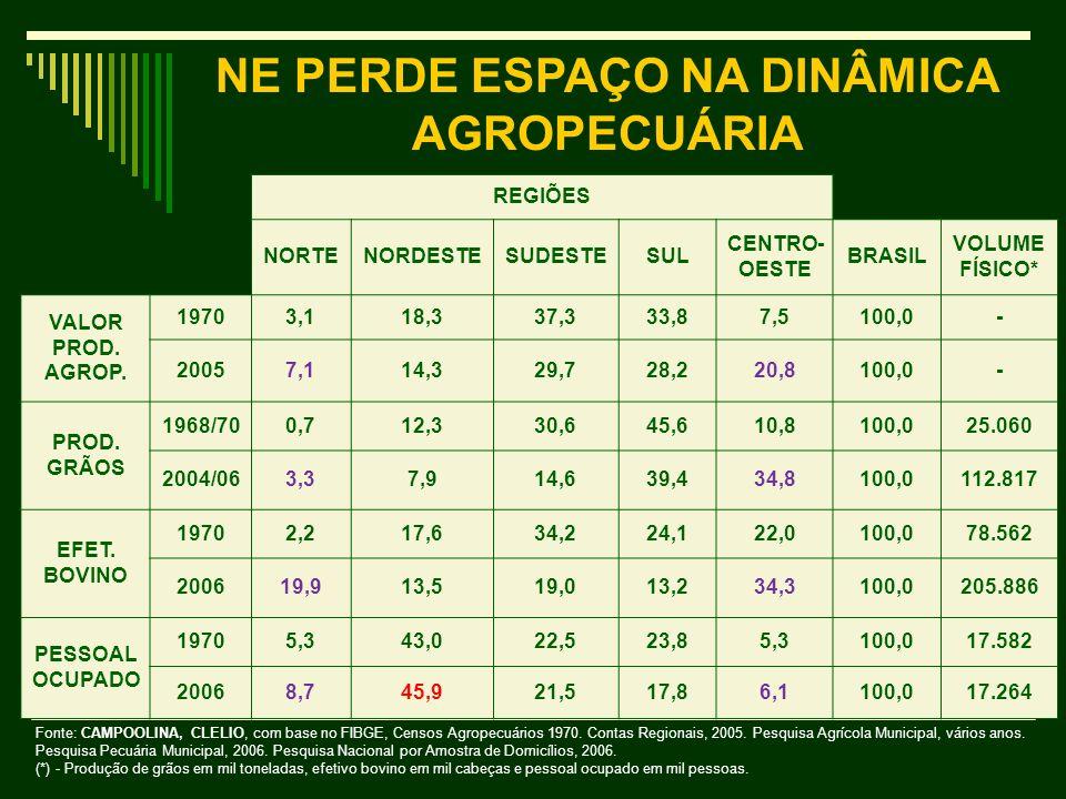 NE PERDE ESPAÇO NA DINÂMICA AGROPECUÁRIA
