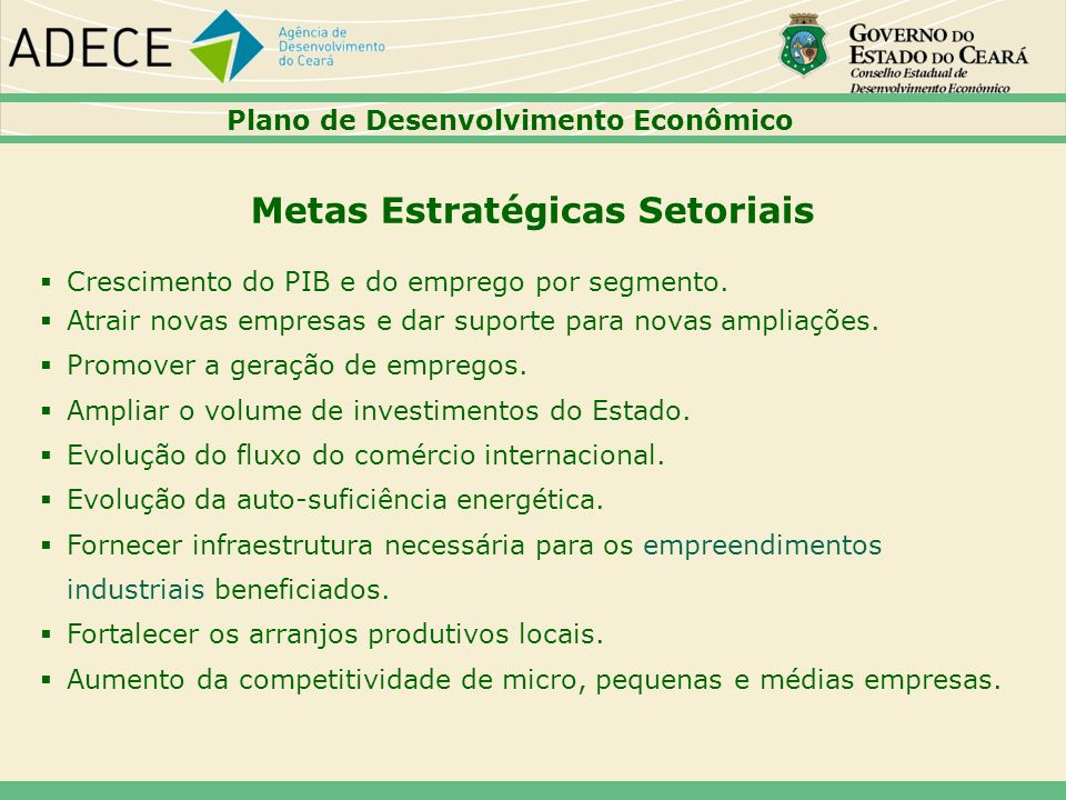Metas Estratégicas Setoriais