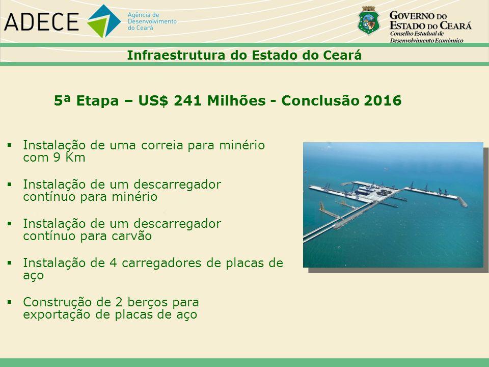 5ª Etapa – US$ 241 Milhões - Conclusão 2016