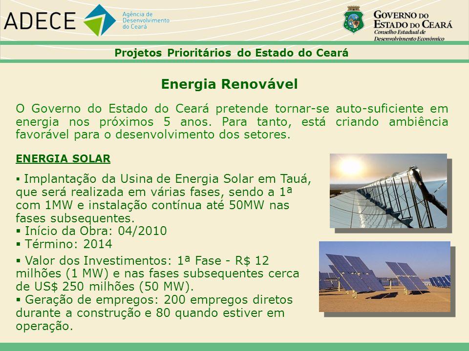 44444444 Projetos Prioritários do Estado do Ceará. Energia Renovável.