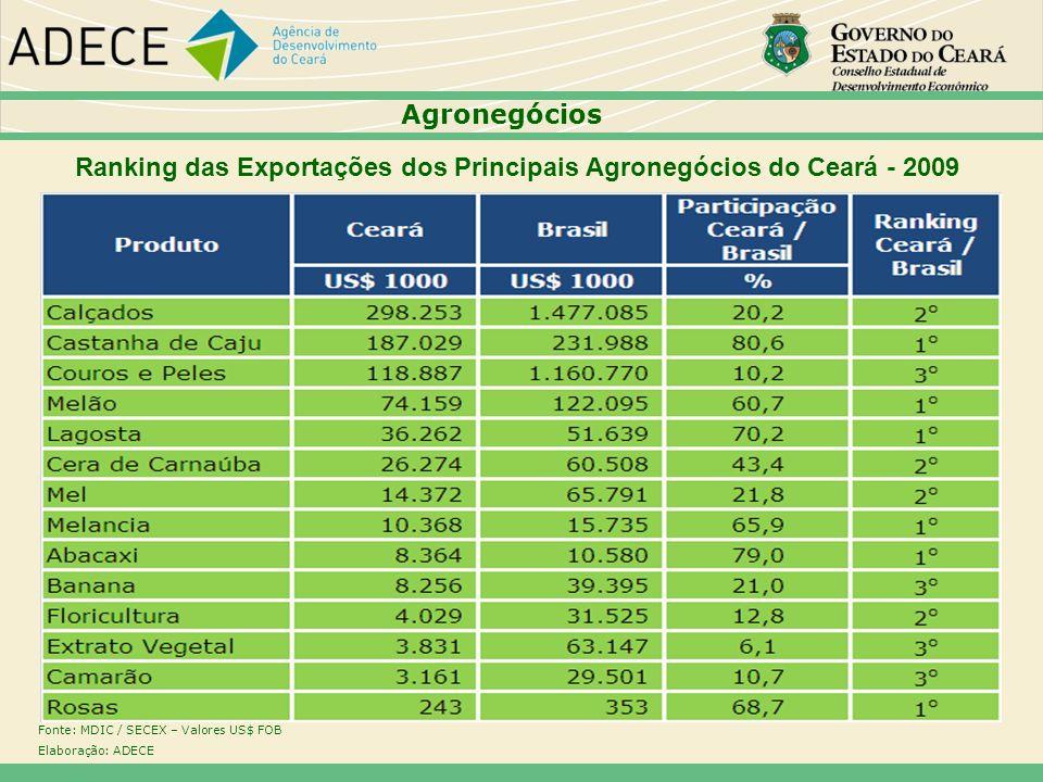 Ranking das Exportações dos Principais Agronegócios do Ceará - 2009